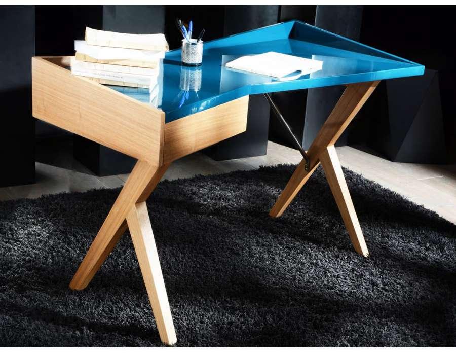 Bureau Design Bois Laque : Bureau laqu? bleu design scandinave