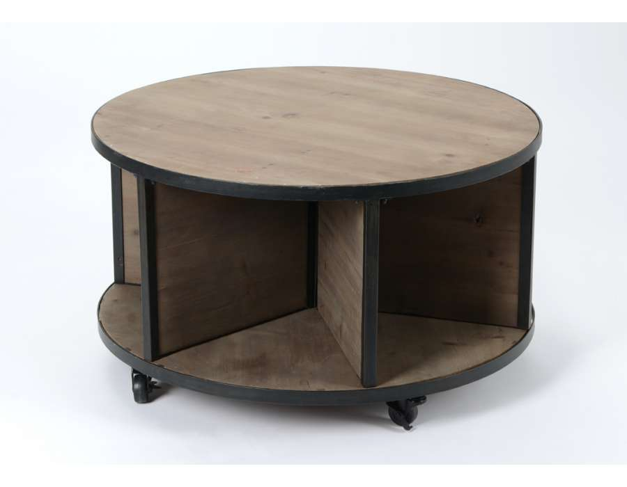 Table basse industrielle avec roue - Table basse ronde industrielle ...