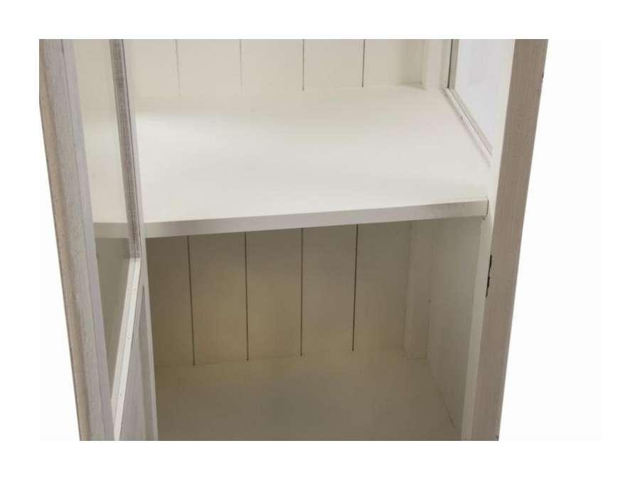 meuble vitrine beige en verre avec étagère romantique pas  ~ Meuble Bois Vieilli