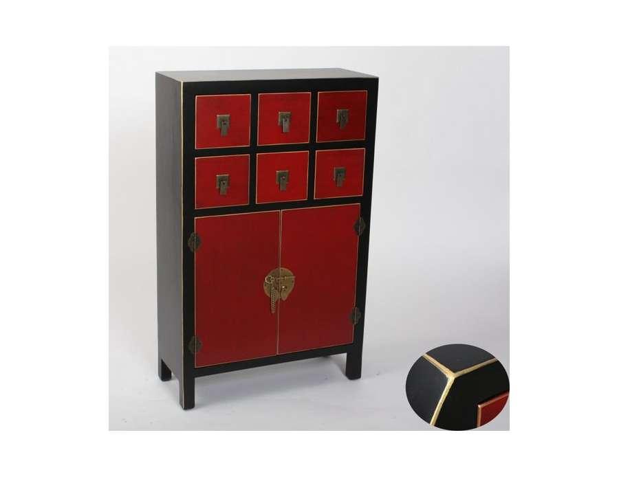 Meuble chinois noir et rouge id e for Meuble bas japonais