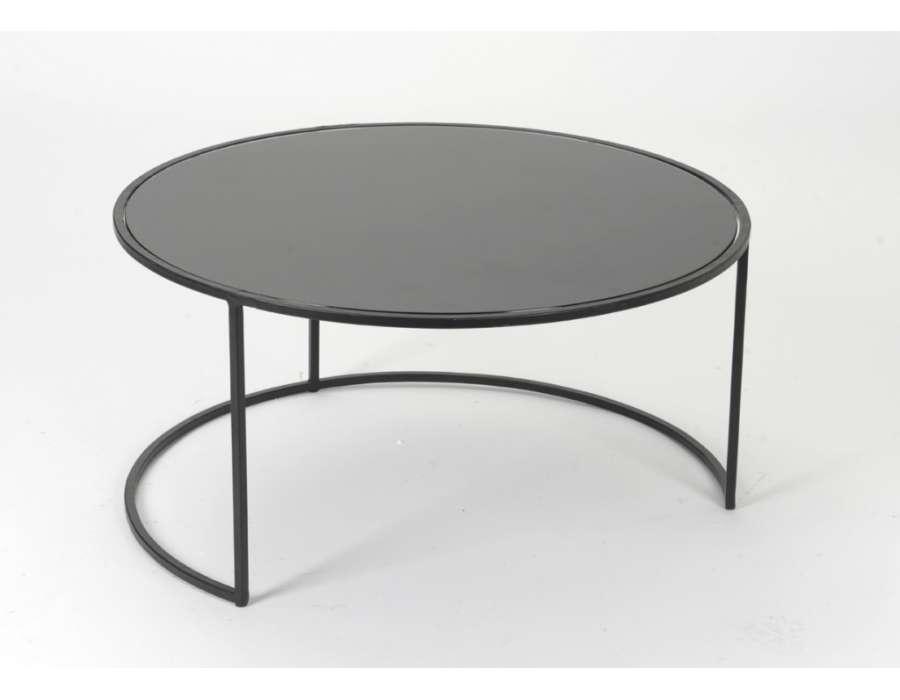Table basse noire ronde pas chere amadeus for Table basse ronde noire