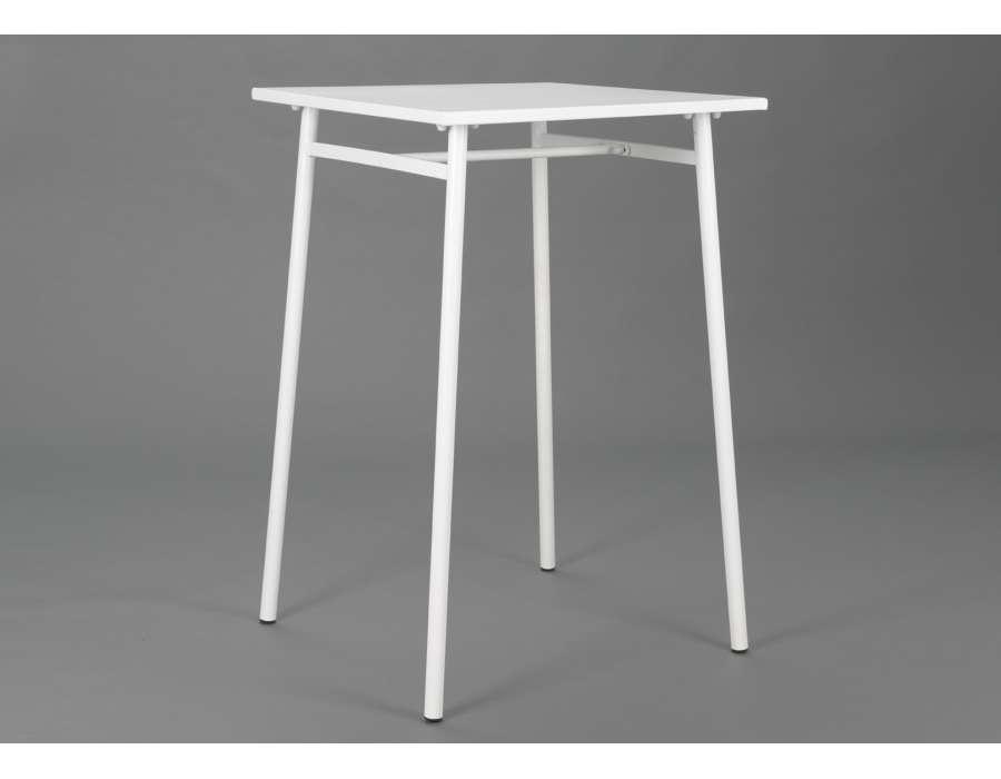 Table bar de jardin en r sine blanche acier for Table de jardin en resine blanche