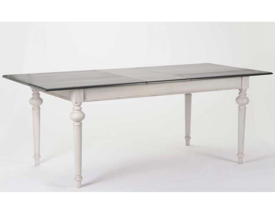 table 160 cm grise avec rallonge amadeus. Black Bedroom Furniture Sets. Home Design Ideas