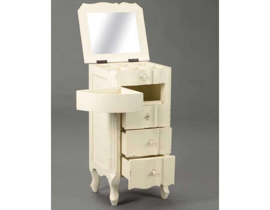 Meuble bijoutier blanc patin romantique amadeus - Meuble blanc vieilli ...