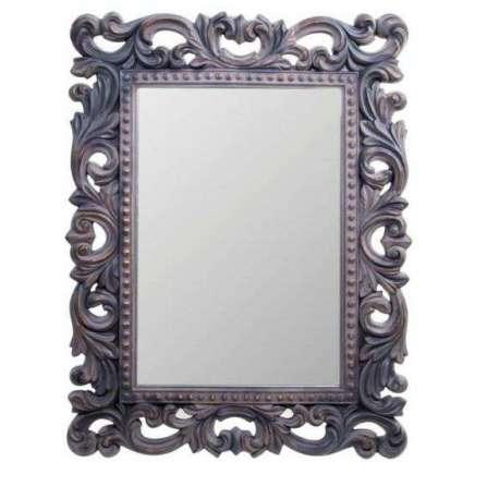 Miroir baroque noir sculpt vieilli pas cher - Miroir rectangulaire noir ...