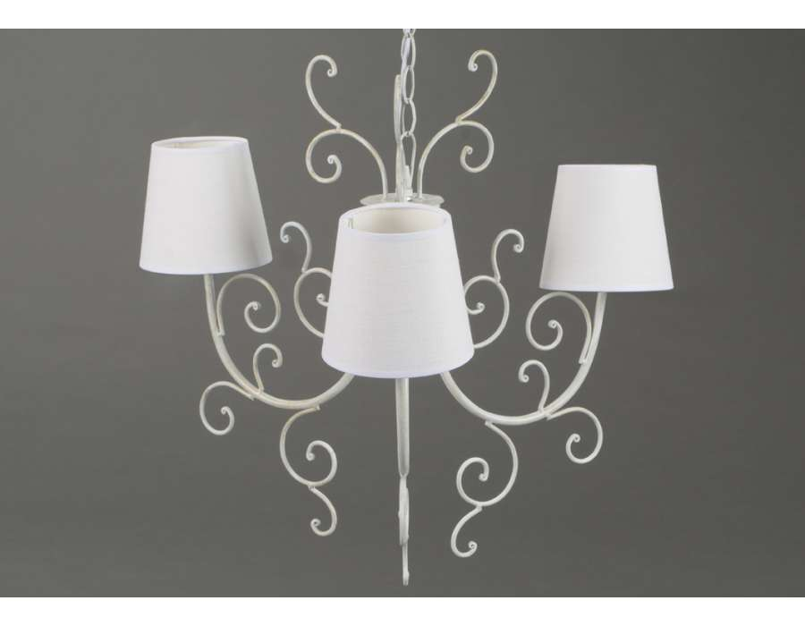 lustre blanc avec volutes 3 lampes. Black Bedroom Furniture Sets. Home Design Ideas