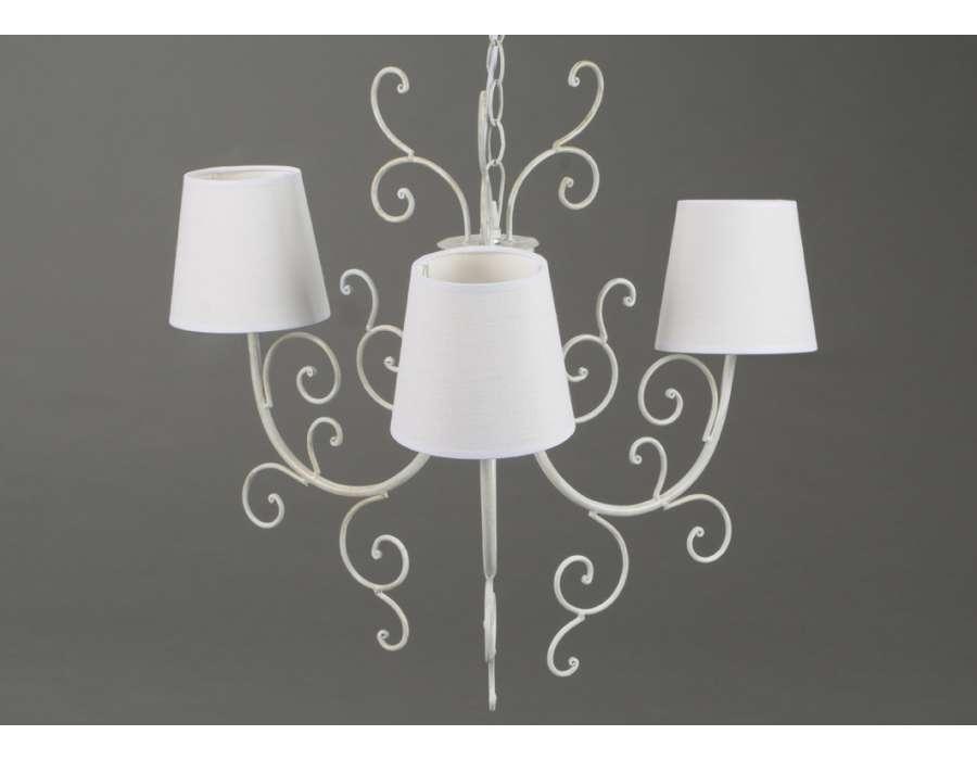 Lustre blanc avec volutes 3 lampes - Lustre amadeus ...