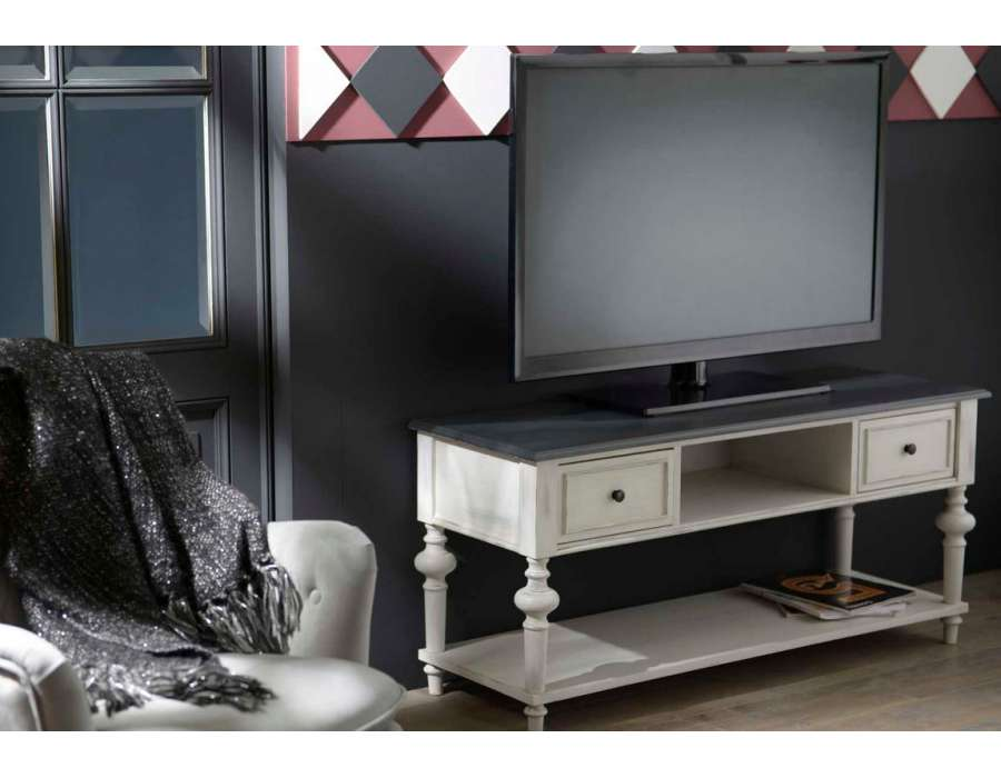 meuble t l gris avec niches amadeus. Black Bedroom Furniture Sets. Home Design Ideas