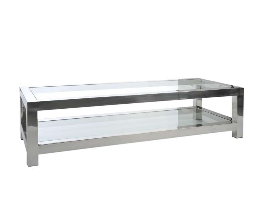Table basse verre et acier chrom moderne chic for Table de salon en verre