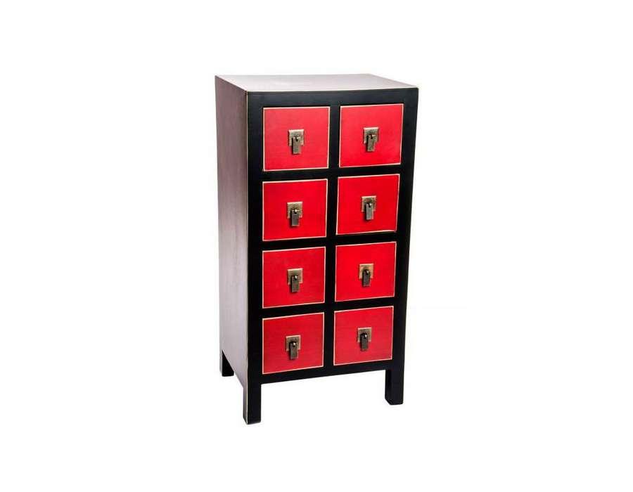 Chiffonnier japonais meuble chinois noir et rouge cher for Meuble chinois solde