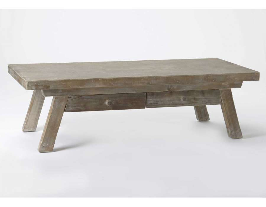 Table basse de salon en bois rustique for Table salon bois brut