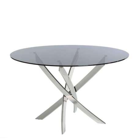 ... manger > Table de salle à manger > Table ronde verre et acier moderne