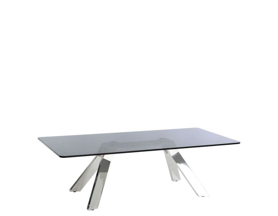 Table rectanuglaire verre fum et acier design - Table basse verre acier ...