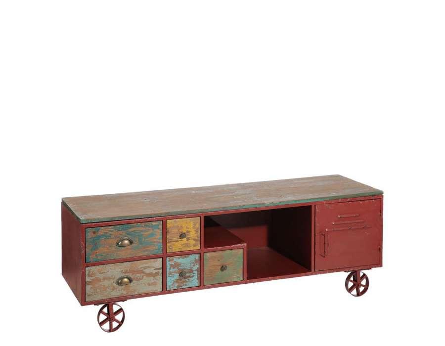 meuble tv industriel color. Black Bedroom Furniture Sets. Home Design Ideas