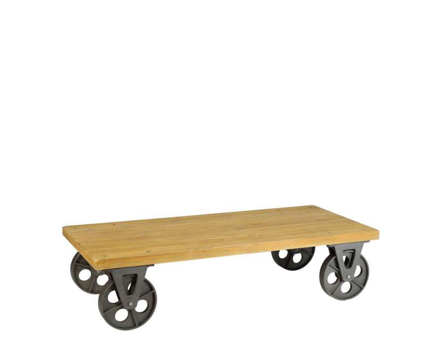Table basse industrielle roues m tal 150 cm for Roues pour table basse