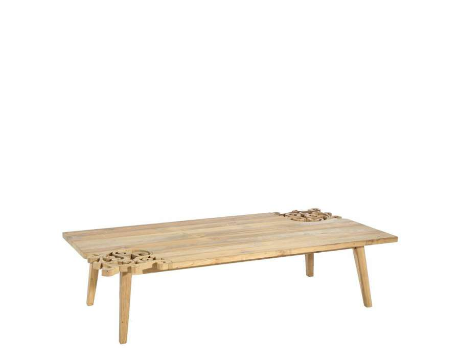 Grande table basse bois massif sculpt for Table basse moderne bois