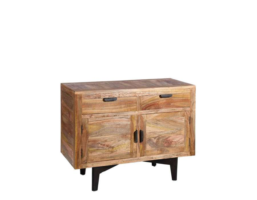 buffet bois massif manguier avec 2 portes. Black Bedroom Furniture Sets. Home Design Ideas