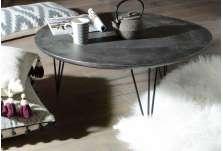 Table basse ronde grise en aluminium