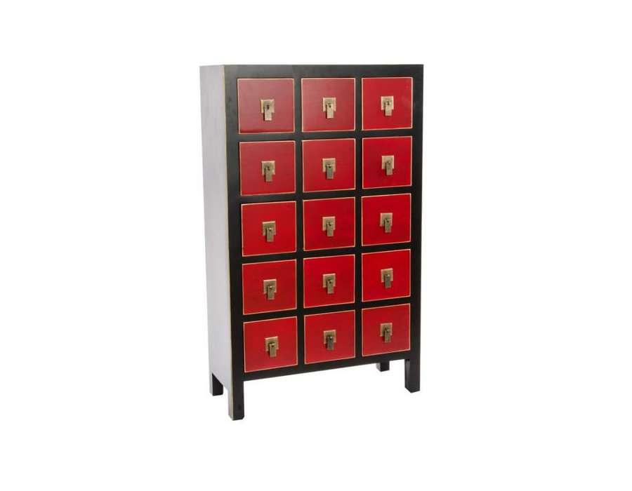 Chiffonnier japonais meuble chinois noir et rouge 15 tiroirs - Meuble japonais rouge ...
