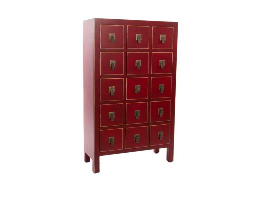 Chiffonnier japonais meuble chinois rouge 15 tiroirs for Meubles japonais achat