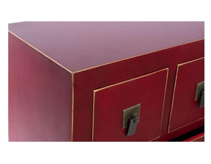 Chiffonnier japonais meuble chinois rouge 15 tiroirs - Meuble japonais rouge ...