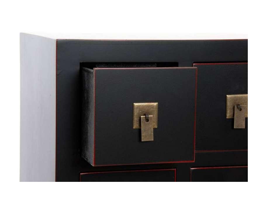 Petit chiffonnier noir 6 tiroirs japonais pas cher - Petit meuble noir ...