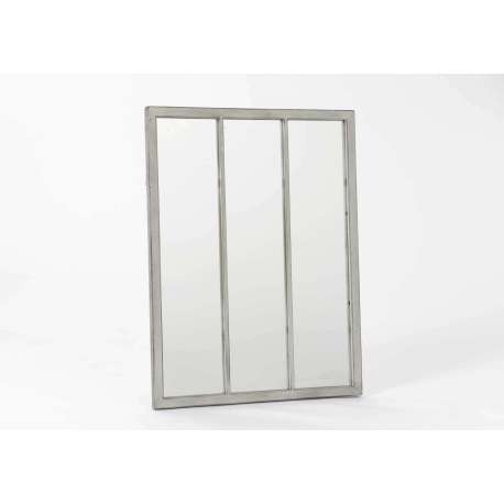 Miroir m tal beige vieilli orangerie for Miroir 3 pans