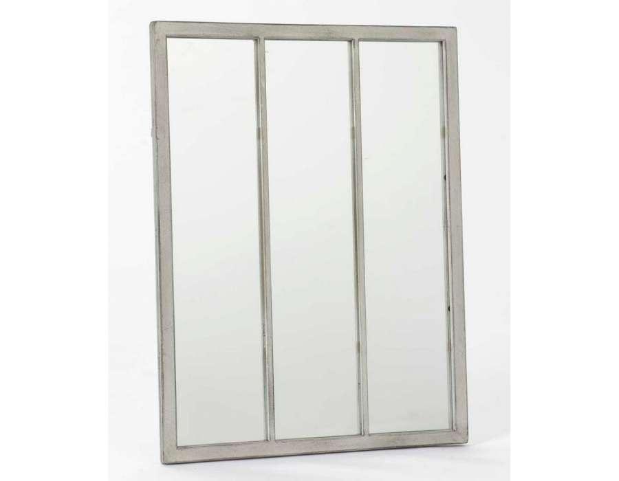 Miroir orangerie noir for Miroir noir metal