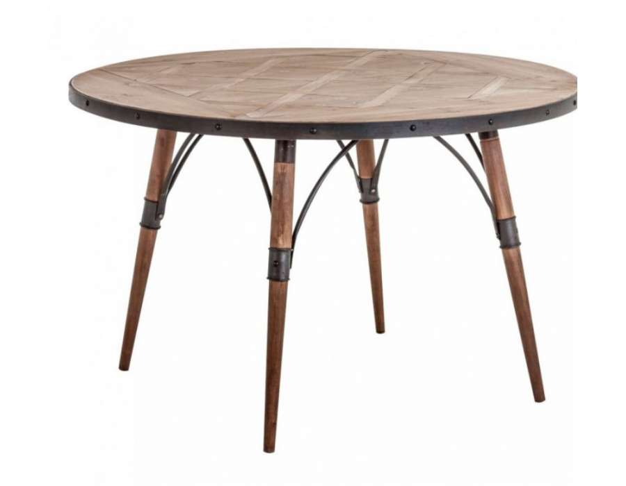 Table ronde bois et m tal industrielle et retro vical home for Table ronde en bois exterieur