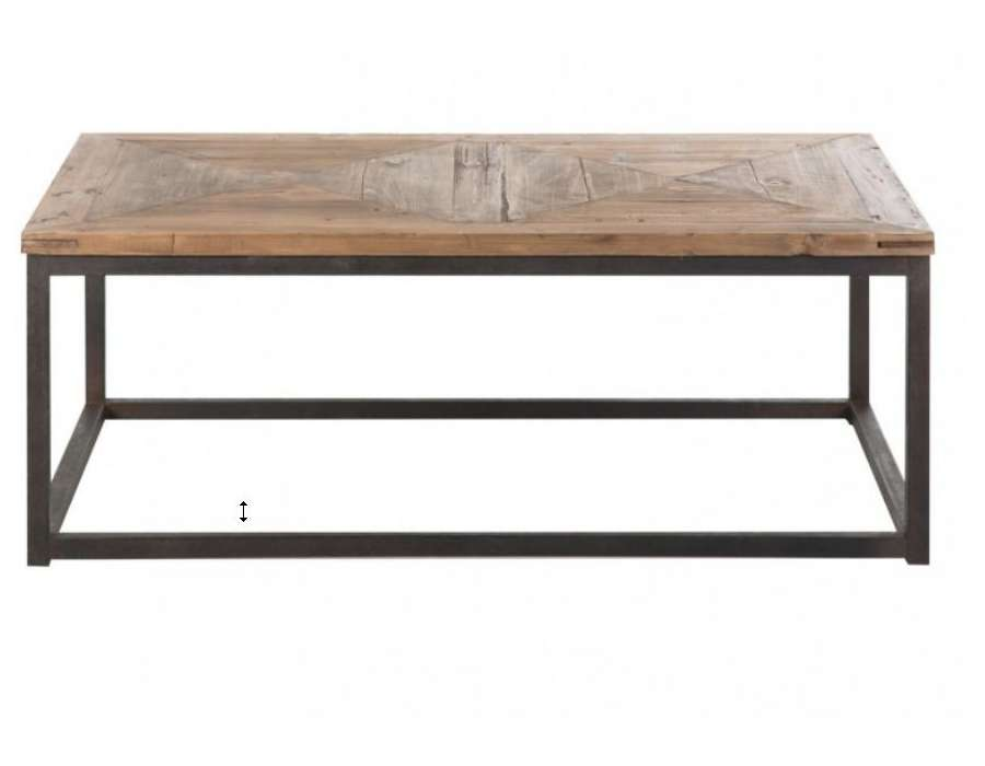 Table basse industrielle plateau bois vical home - Table de salon contemporaine ...