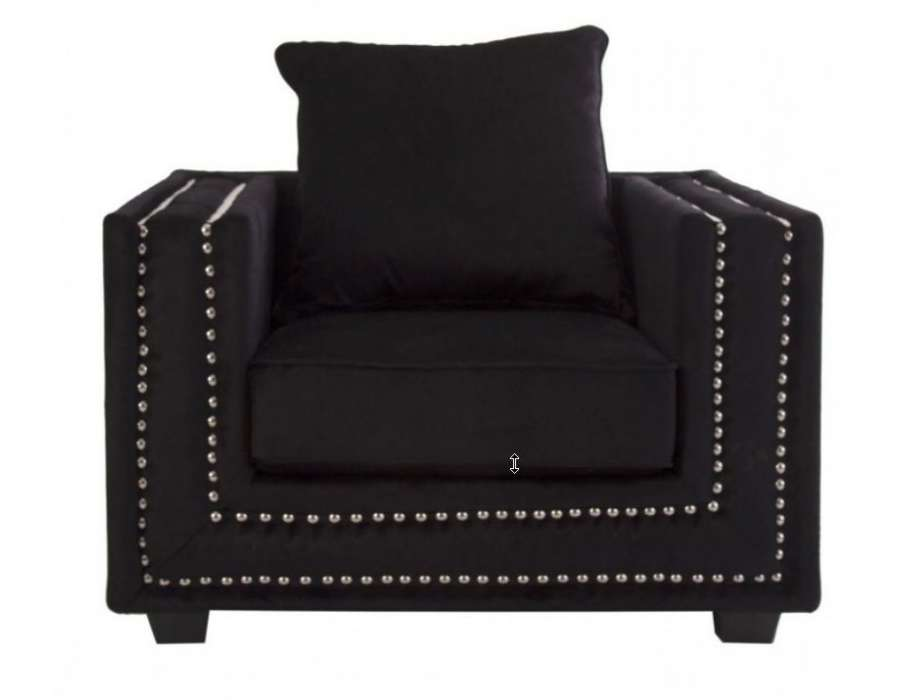 grand fauteuil noir en velours avec assise large. Black Bedroom Furniture Sets. Home Design Ideas