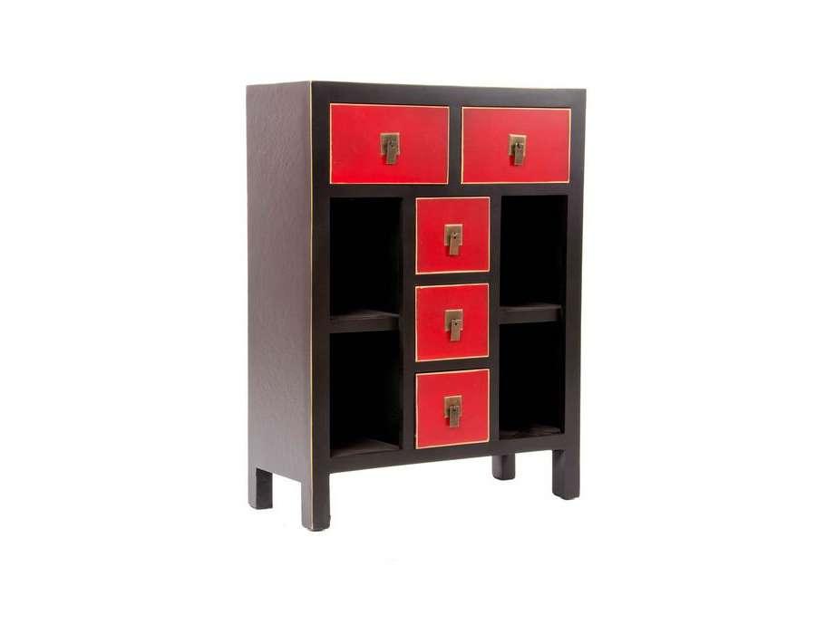 Meuble de rangement tiroirs japonais rouge et noir pas cher - Meuble japonais rouge ...