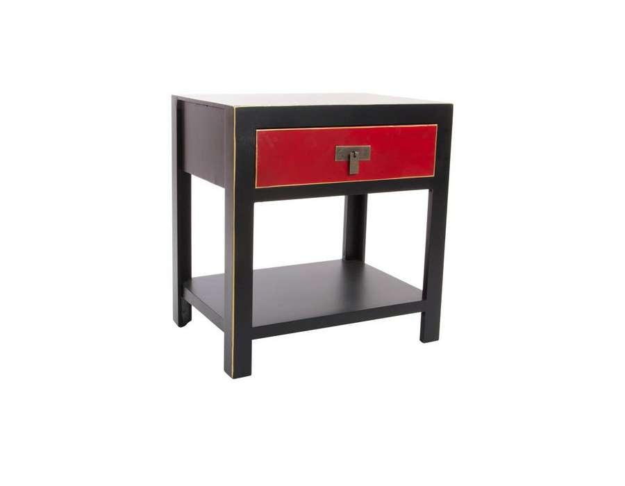 Table de nuit noire et rouge japonaise pas chere - Table de nuit japonaise ...