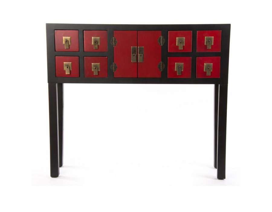 Meuble console rouge maison design for Meuble coiffeuse japonaise