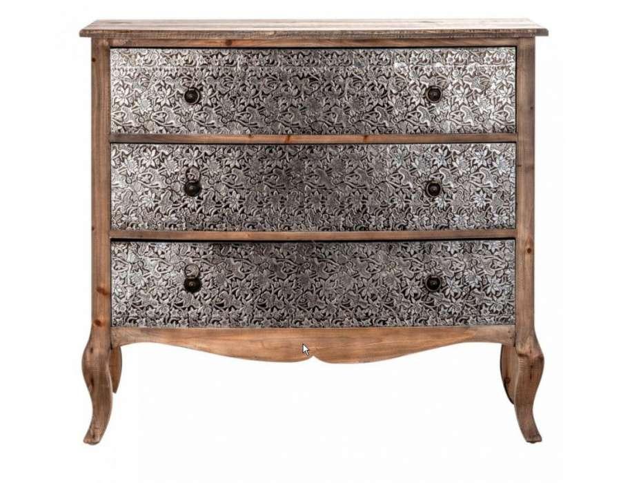 Commode argent e et bois meuble chambre baroque for Meuble baroque moderne