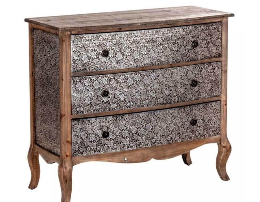 Commode argent e et bois meuble chambre baroque - Commode baroque a peindre ...