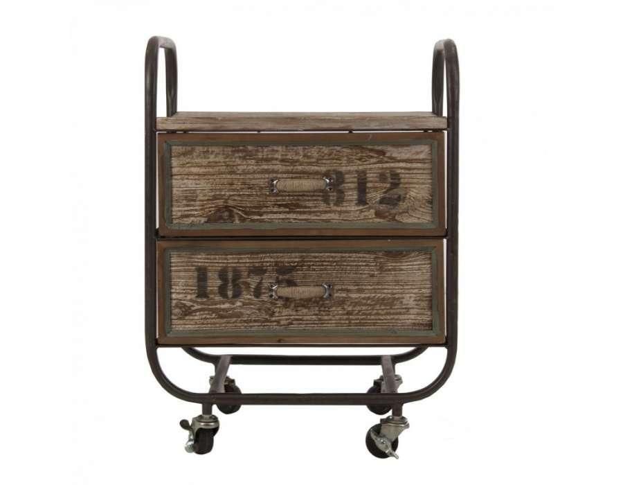 Table de chevet industrielle m tal et bois - Table de nuit industrielle ...
