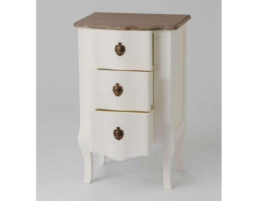 Table de nuit 3 tiroirs romantique amadeus blanc cass for Table de nuit romantique