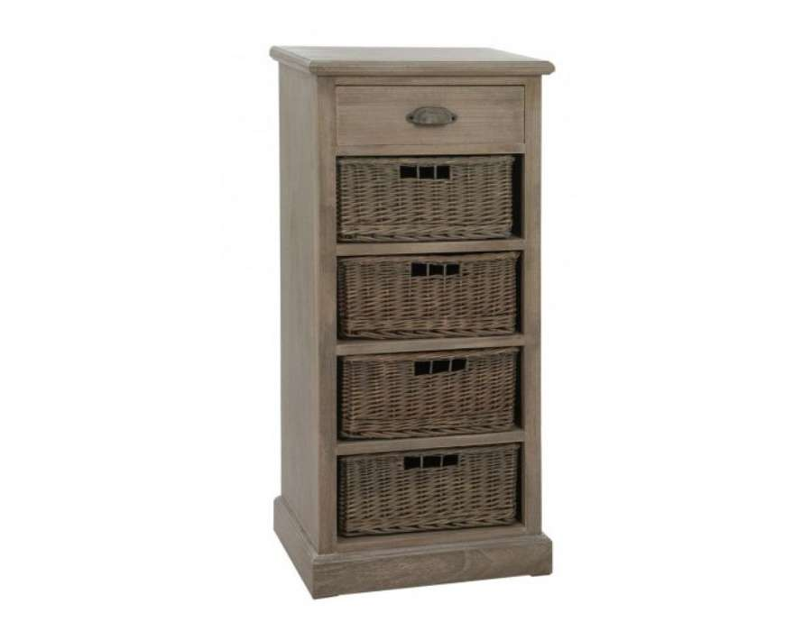 chiffonnier 4 tiroirs bois c rus avec paniers. Black Bedroom Furniture Sets. Home Design Ideas