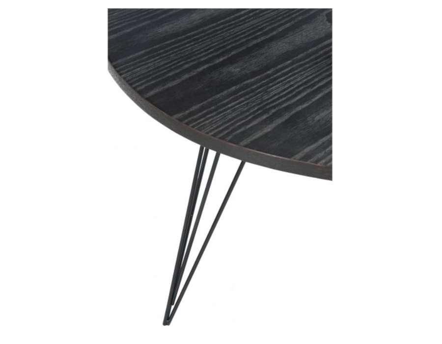 Table salon noire retro design jolipa pas prix - Table salon noire ...