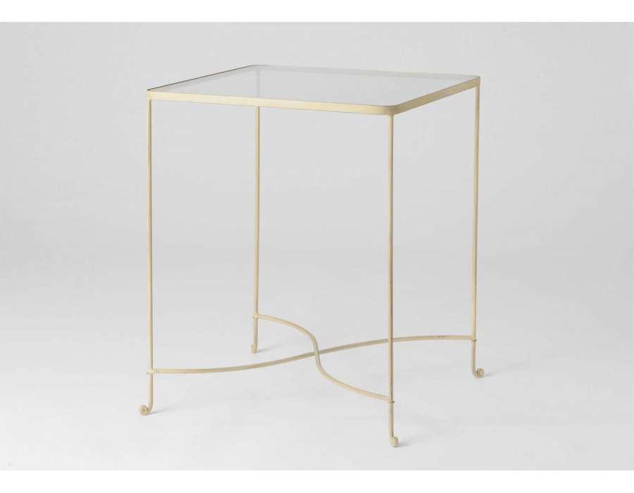 Gueridon avec un plateau en verre de 90 cm pas chere - Table en verre pas chere ...