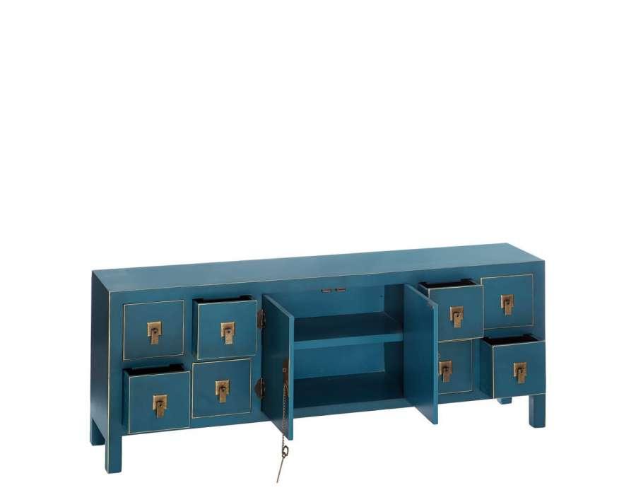 meuble de rangement bas chinois bleu avec 8 tiroirs, meuble chinois pas cher -> Meuble Tv Bleu