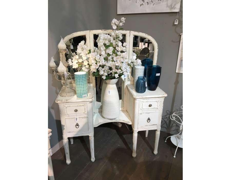 Coiffeuse bois beige meuble de chambre blanc romantique for Coiffeuse avec miroir ancienne