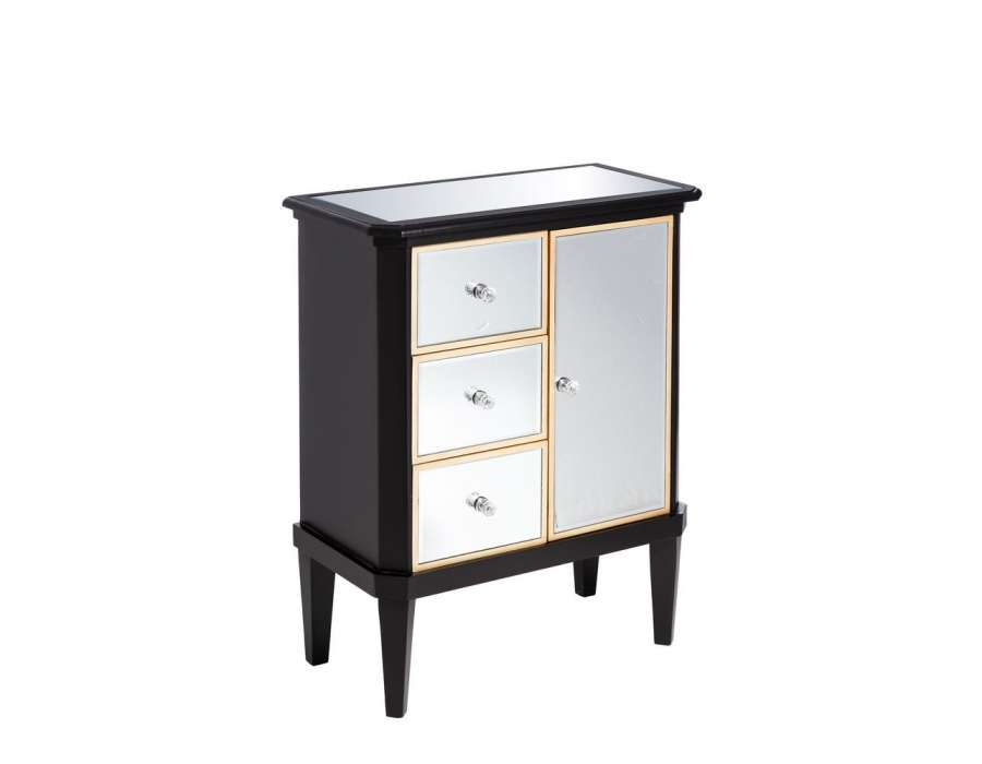 buffet miroirs noir look art deco 1 porte. Black Bedroom Furniture Sets. Home Design Ideas