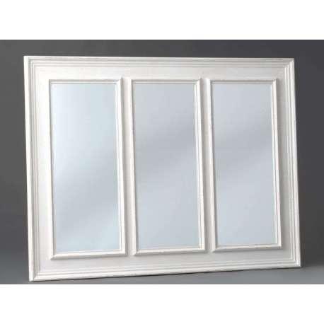 Grand miroir romantique blanc 3 parties for Grand miroir blanc