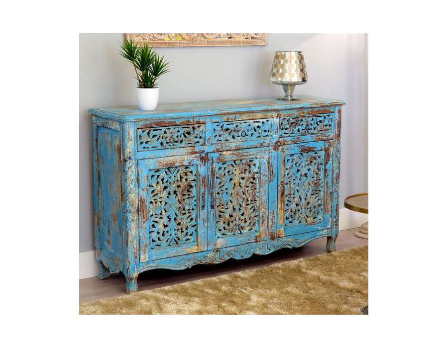 Grand bahut indien bleu style boh me chic for Meubles indiens pas cher