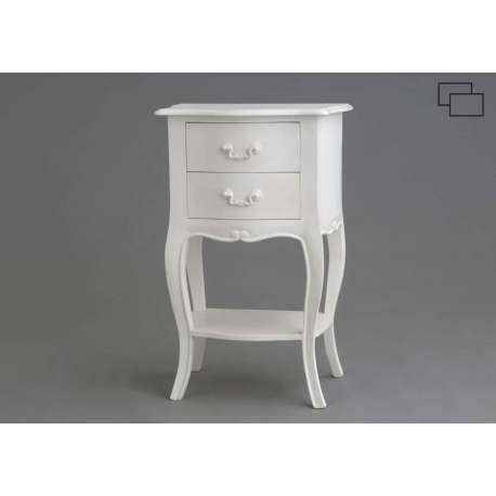 Table de chevet blanche romantique amadeus - Table de chevet blanche ikea ...