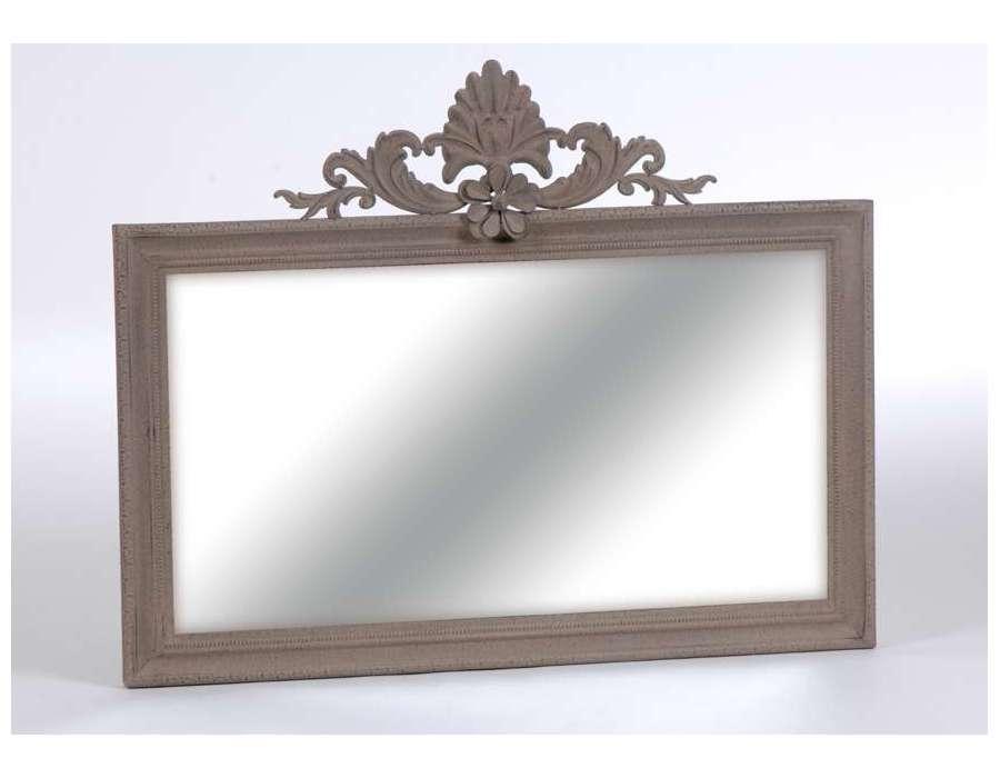 Miroir rectangulaire en m tal et bois plat chene 50x70cm for Metal miroir