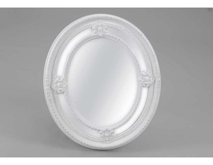 Miroir blanc oval 70 cm amadeus for Miroir 70 cm