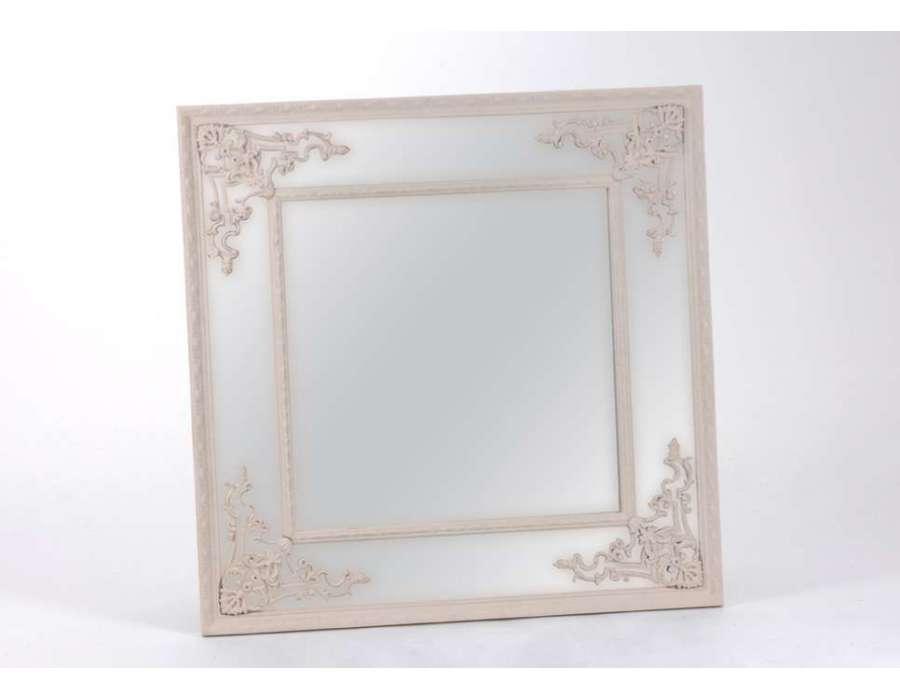 Miroir baroque beige carr amadeus for Miroir carre